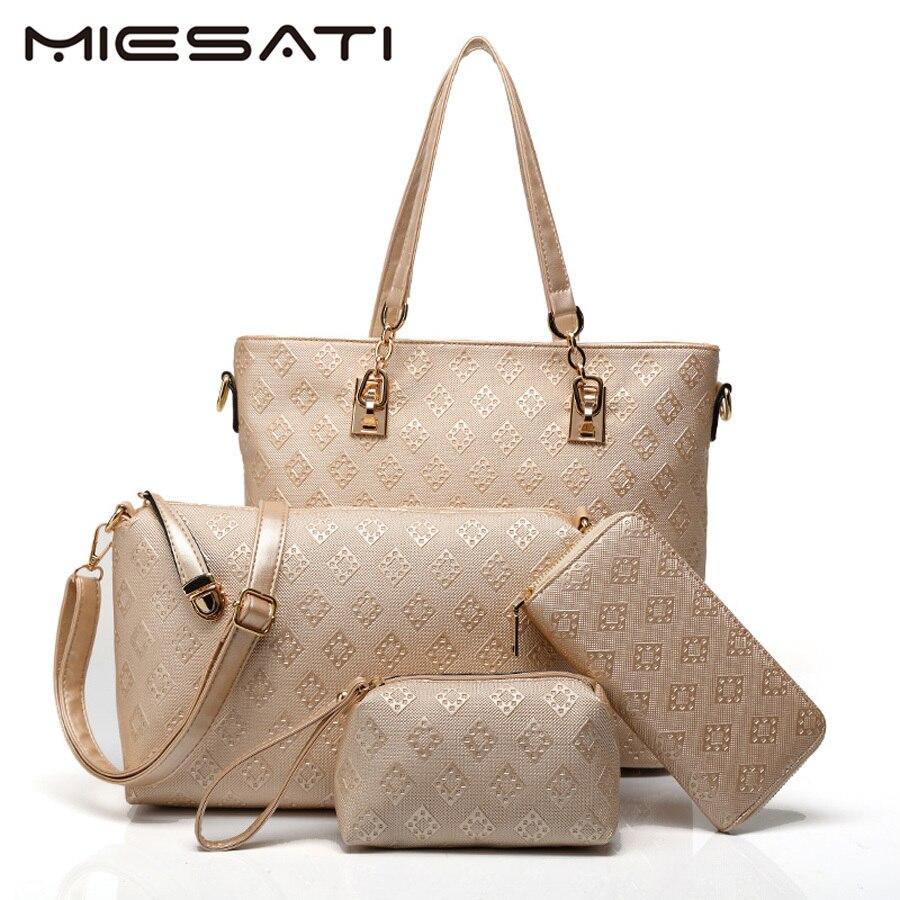 все цены на MIESATI 4 Handbag Set Brand Designer Women Bag Letter Top-Handle Bags Fashion Femal Ladies Shoulder Bags New Mother Handbag онлайн