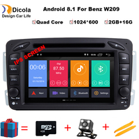 2DIN Android 8,1 автомобиль dvd мультимедийный плеер радио для Mercedes Benz W209 W203 W168 ML W163 W463 Viano W639 Vito gps навигации BT