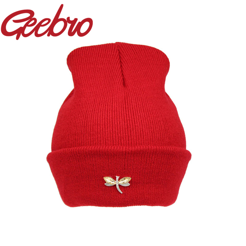 Geebro Dragonfly Crystal Accessory Beanies Warm Knitted Hat for Women Hip  Hop Cute Winter Caps Female Hat Bonnet Gorros JS221-in Skullies   Beanies  from ... 85873ca4804a