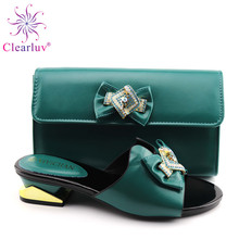 African Shoes And Bags To Match Set High Quality Women Shoes And Bag Sets Italian Shoes And Bag Set For Party cheap Clearluv Mary Janes Spike Heels Super High (8cm-up) Fits true to size take your normal size sexy CRYSTAL Spring Autumn