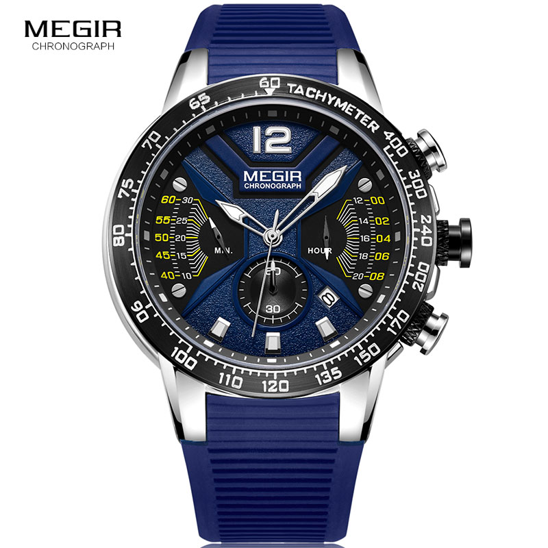 MEGIR Sports Chronograph Quartz Watches for Men Silicone Strap Wateproof Luminous Wristwatch Man Relogios Masculino 2106 BlueMEGIR Sports Chronograph Quartz Watches for Men Silicone Strap Wateproof Luminous Wristwatch Man Relogios Masculino 2106 Blue