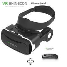 VR Shinecon 4.0 VR Glasses Virtual Reality HD Nano-blue Lens with Adsorption Cooling Panel for 4.5-5.5″Smartphone +Game Jostick