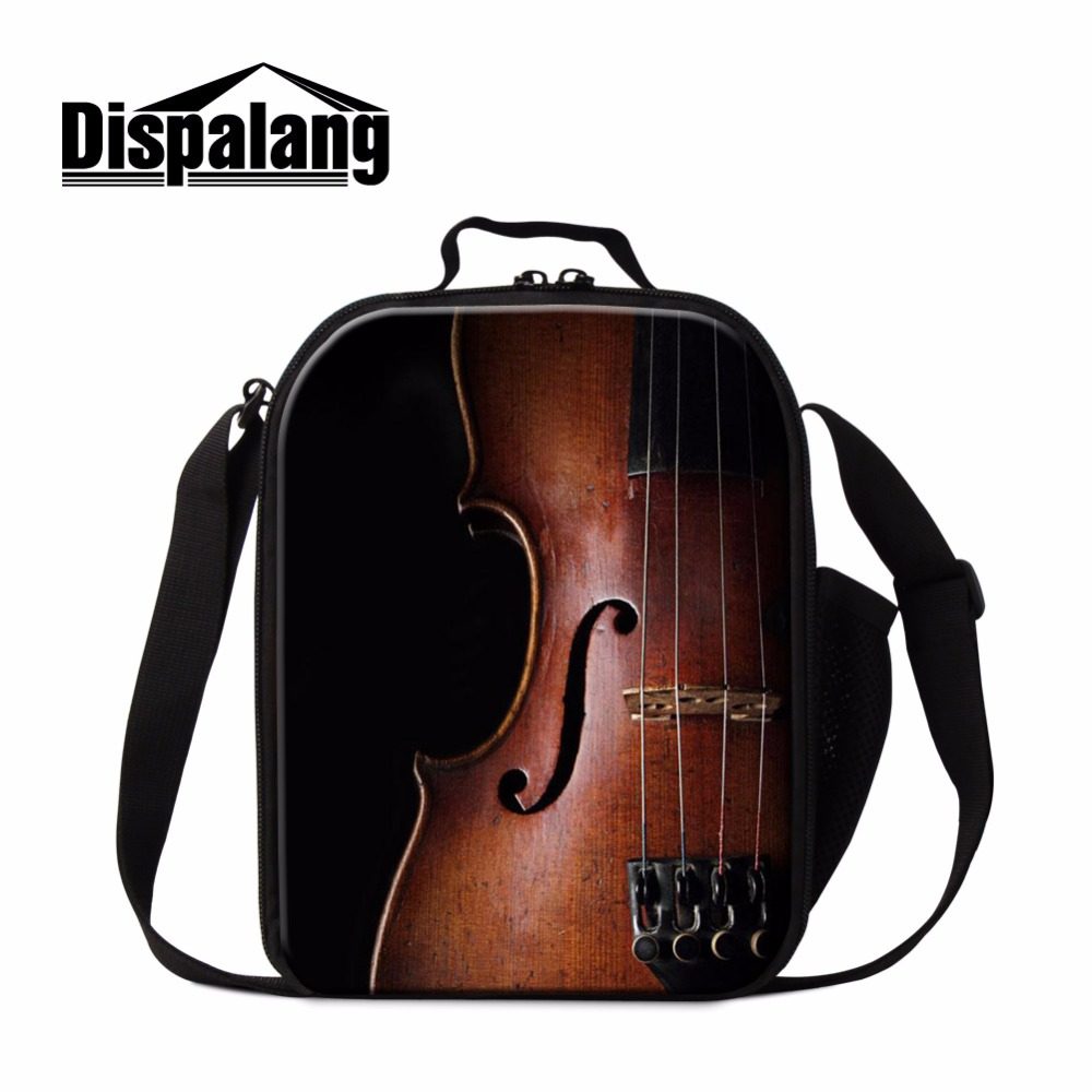 Dispalang Personal Lunch Cooler Bag for Kids Violin Print Insulated Lunch Container for Girls Crossbody Art Lunch Bag for Office