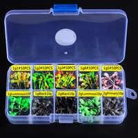 100 unids/caja 1g/2g plantillas de cabeza de plomo Multicolor con gancho único accesorios de Pesca suministros de Pesca juego de ganchos