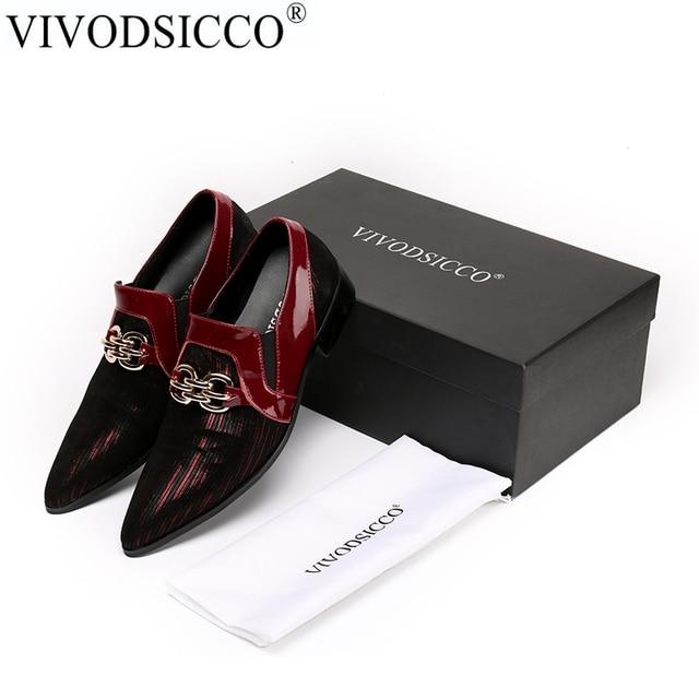 5e49cb25e090c VIVODSICCO Neue Männer Kleid Schuhe Aus Echtem Leder Karree Klassische  Männer Formale Geschäfts Flache Schuhe Elegante