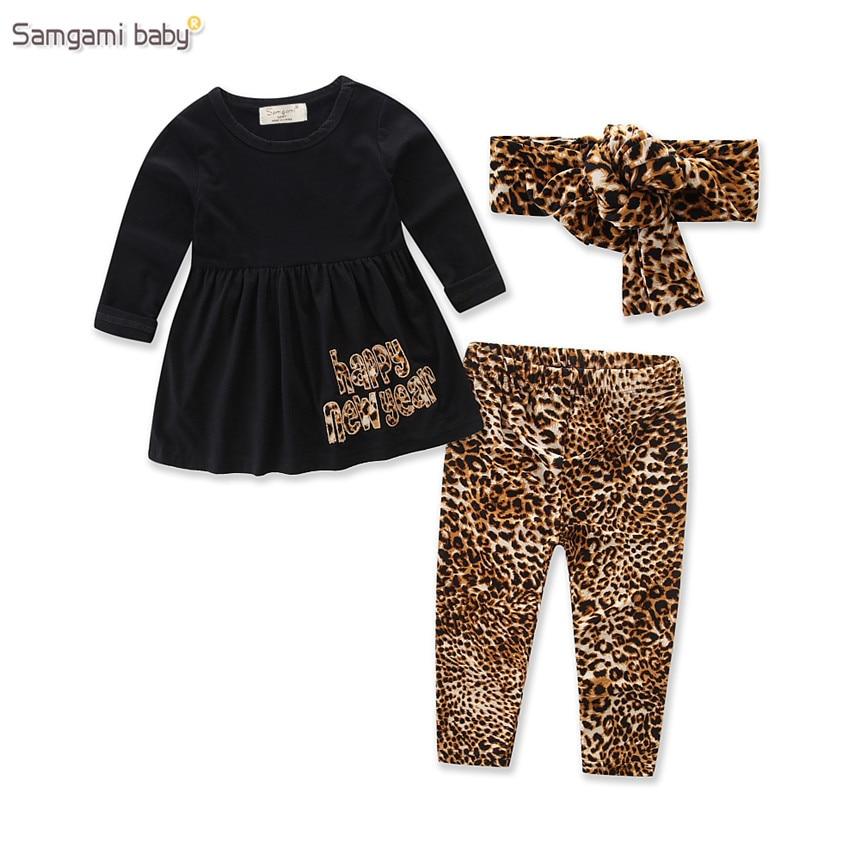 SAMGAMI BABY Toddler Girl Clothing Set Long Sleeve cotton T-shirt+Leopard Print Pants+headband 3pcs Brand Kids Girls Clothes
