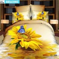 노란색 해바라기 나비 침대 커버 4/5 개 100% 면 침대 3d 유화 침구 세트 퀸 킹 사이즈 이불 커버 doona