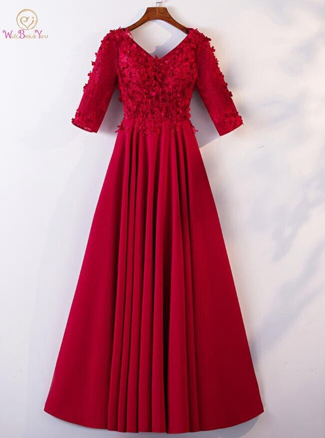 Marcher à côté de vous robes de bal Gala Jurk Long 2019 bordeaux demi manches col en v dentelle Appliques Floral robes de soirée