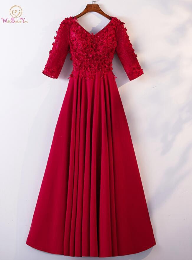 Walk Beside You   Prom     Dresses   Gala Jurk Long 2019 Burgundy Half Sleeves V-neck Lace Appliques Floral vestidos de Evening Gowns
