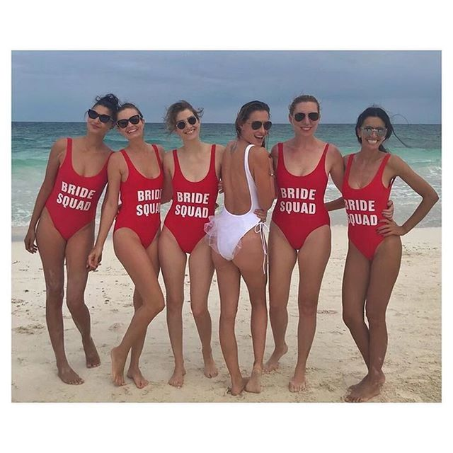 85bdcf874d Red BRIDE SQUAD One Piece Swimsuit Letter Print Swimwear Women Monokini Bathing  Suit Sexy Bodysuit Maillot De Bain Swimming