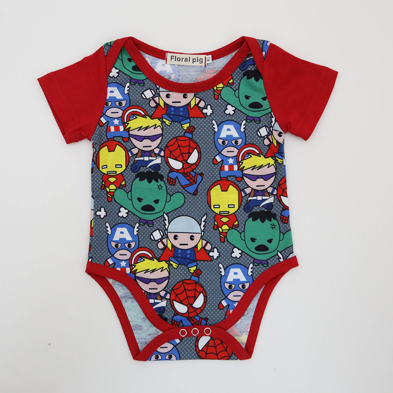 2018 Baby Bodysuit Tiny Cottons Red Short Sleeves Superhero Baby Boy Clothes Funny Newborn Boys Jumpsuit Halloween Baby Onesie