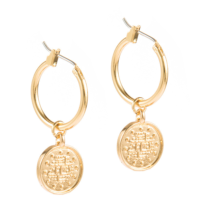 Trendy Vintage Zinc Alloy Coin Portrait Pendant Hoop Earrings Gold