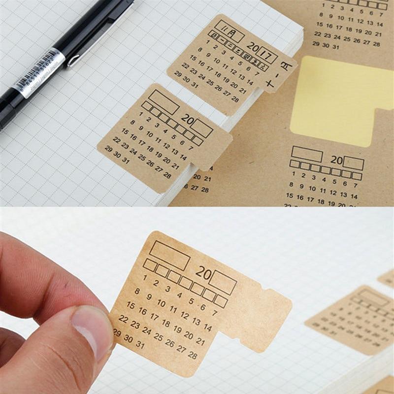 2019 4 Sheets Kraft Paper Handwritten Calendar Notebook Index Label Sticker Calendar Sticker Organizer Kawaii Stationery Sticker