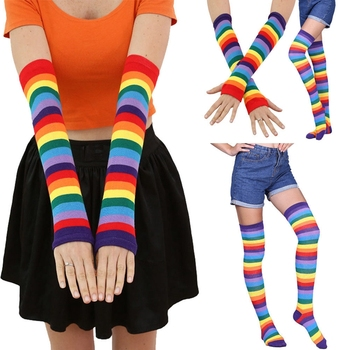 Fashion Women Girl Rainbow Stripe Knee Thigh High Long Stocking Stretchy Fingerless Mitten Gloves