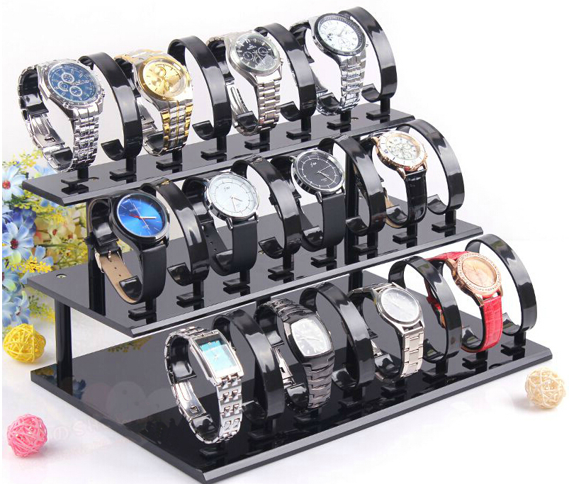 3 tier Acrylic Wrist Watch Display Holder Rack for 24 holders