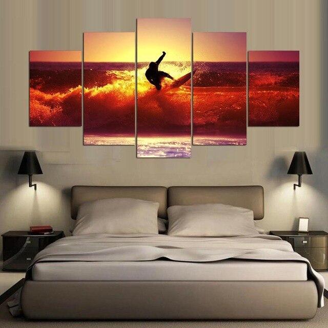 5 Panel Moderne Hd Kunstdruck Leinwand Hawaii Surf Kunst Wand Gerahmte Gemlde Fr Wohnzimmer Wandbild ID