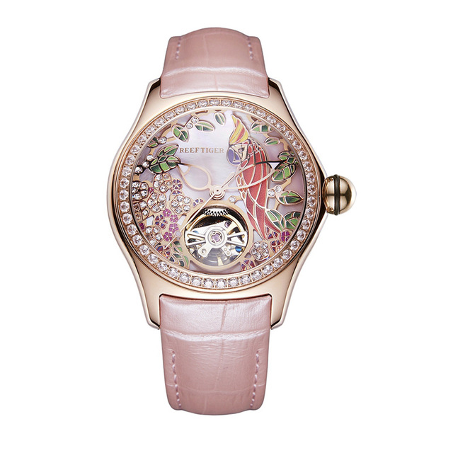 Reef Tiger LOVE Serier RGA7105 Luxury Diamonds Bezel Women Lady Automatic Meachanical Wristwatches Watch With Leather Strap