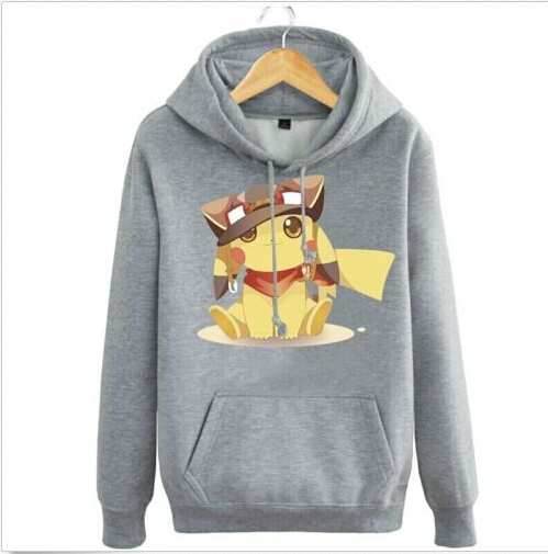 Anime Pokemon Pocket Monster Animal Pikachu Grey Hoodie Jacket Coat Pullover Sweatshirt Cosplay Costume