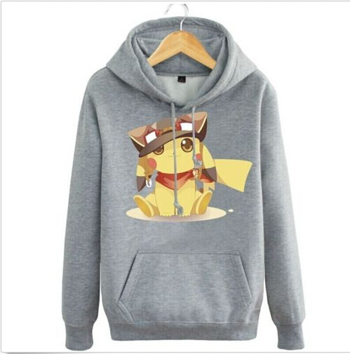 Anime Pokemon Pocket Monster Animal Pikachu Grey Hoodie Jacket Coat Pullover Sweatshirt Cosplay Costume
