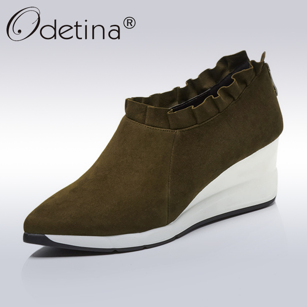 Odetina Women Genuine Leather Suede Wedges Shoes Lady Casual Platform Shoes Autumn Women's Fashion Ruffles High Heel Wedge Shoes nayiduyun women genuine leather wedge high heel pumps platform creepers round toe slip on casual shoes boots wedge sneakers