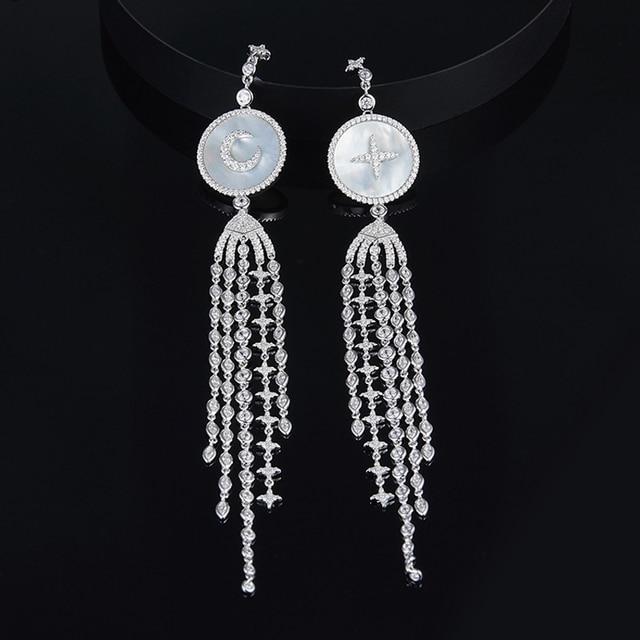 [MeiBaPJ]Real 925 Sterling Silver Long Tassels Earrings for Women AAA High Quality Moon Stars Party Fine Jewelry