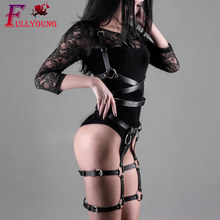 Fullyoung BODY HARNESS Set Bdsm Bondage Lingerie Sexy Black Leather Harness Harajuku Goth Fetish Exotic Apparel Halloween Gift