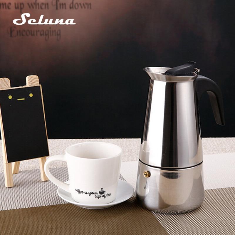 Stove Top Moka Coffee Pot Stainless Steel Filter Italian Espresso Coffee Maker 100/200/300/450ML Percolator Tool Mocha Cafetiere