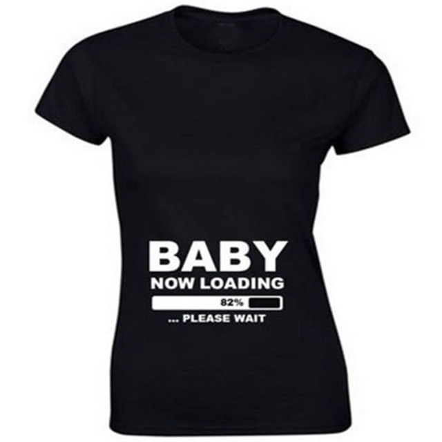 Funny Loose T shirt Women Pregnant Maternity BABY NOW LOADING ...