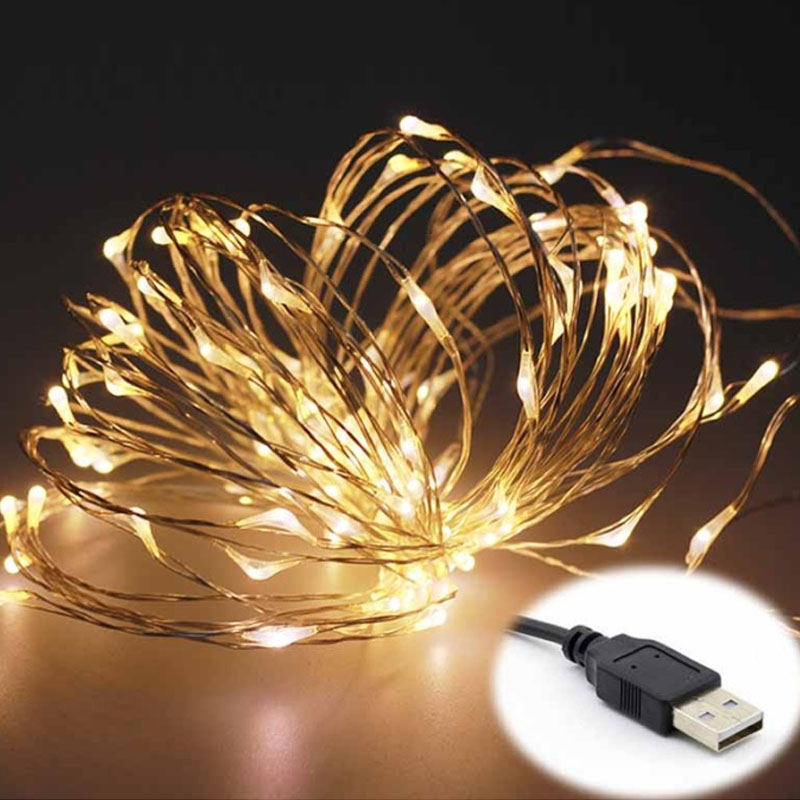 10 м 5 м USB Управляется Гирлянды светодиодные огни Фея лампы для Рождество гирлянды партии Свадебные украшения внутренней