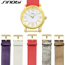 SINOBI 5 Coloration Straps Ladies Watch Set Leather-based Band Wristwatch Reloj Mujer Elegant Montre Femme Girls Watches Gold 2017