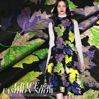 European And American Fashion Catwalks Maple Leaf Jacquard Fabrics Apparel Fabrics Windbreaker Jacket Dress Free Shipping
