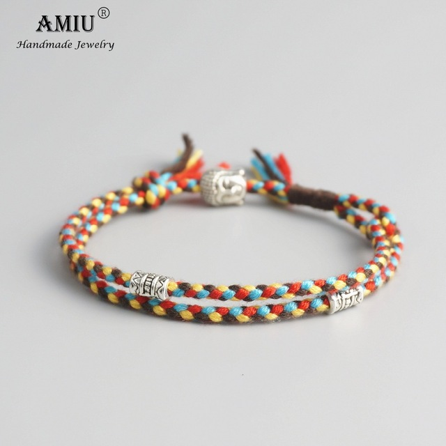 AMIU Tibetan Buddhist Lucky Woven Amulet Tibetan Cord Bracelets & Bangles Handmade