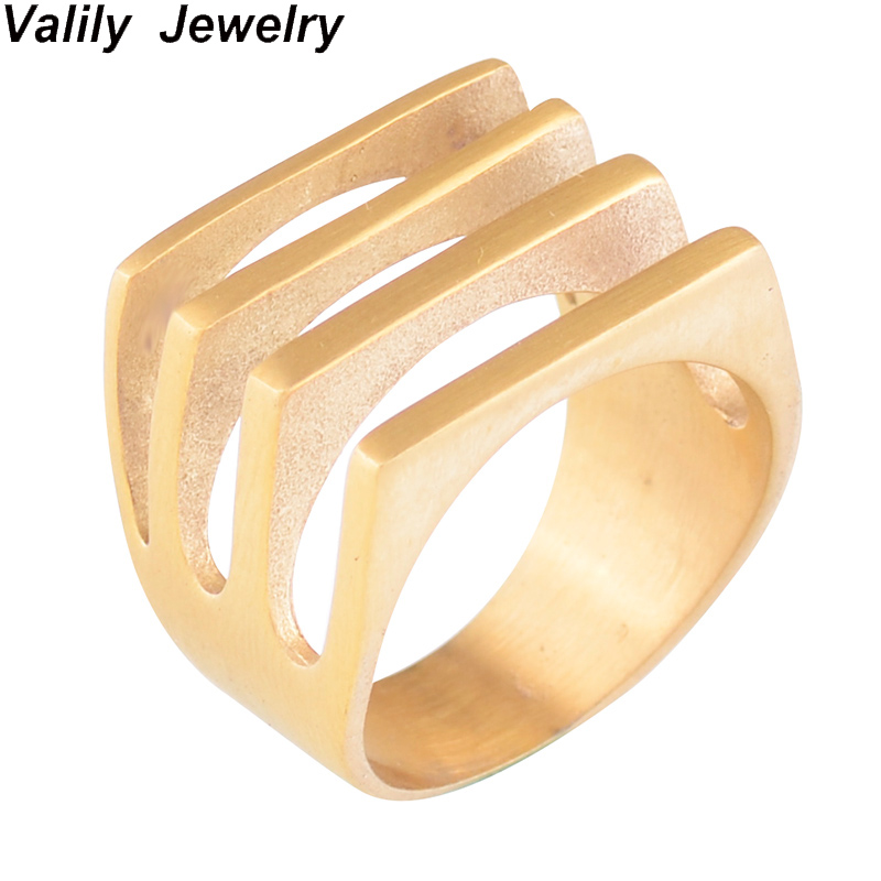 Valily Jewelry Womens Ring Simple Four Lines Geometric Band Gold Ring for Women Gift Bague Dainty Rings Femme Jewelry size 6-9