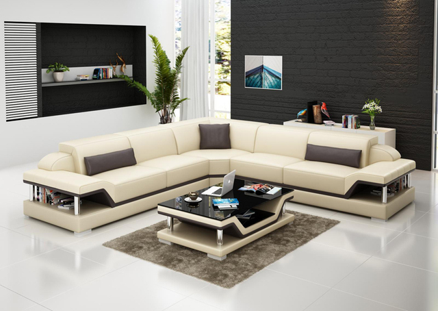 L Shape Leather Sofa With Coffee Table GBin Living Room - Coffee table for l shaped sofa