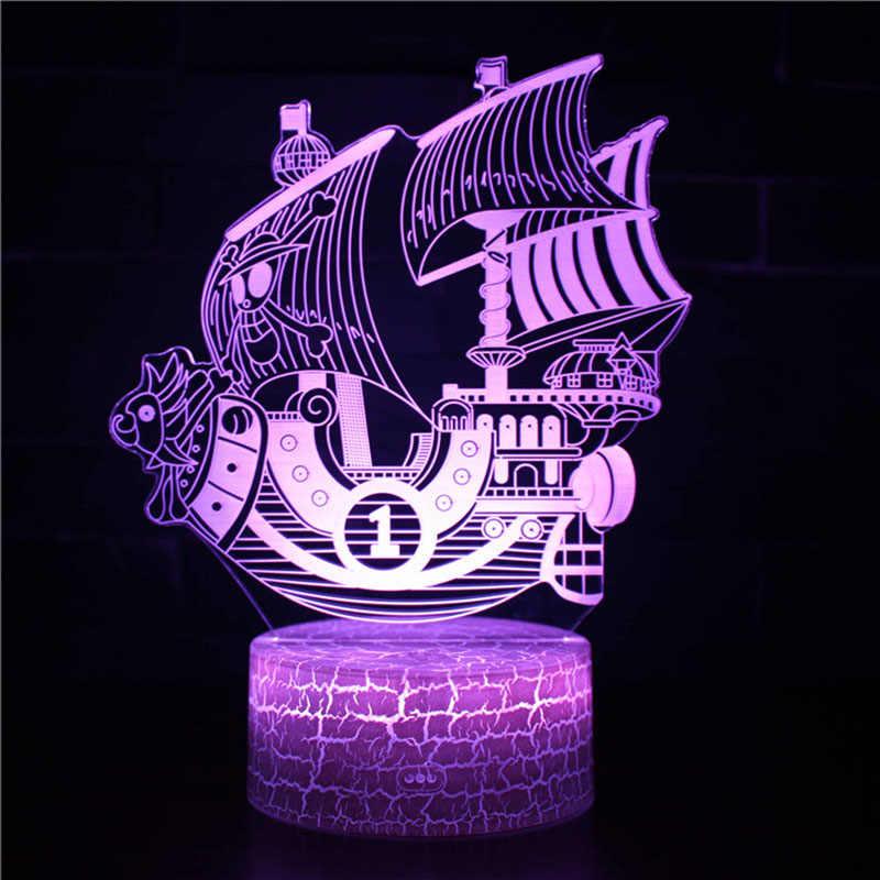 חתיכה אחת 7 צבעים שינוי שולחן פעולה דמויות מנורת לופי USB Led שולחן אור הזורה Mihawk ספינת סאני דגם צעצועים חג המולד מתנה