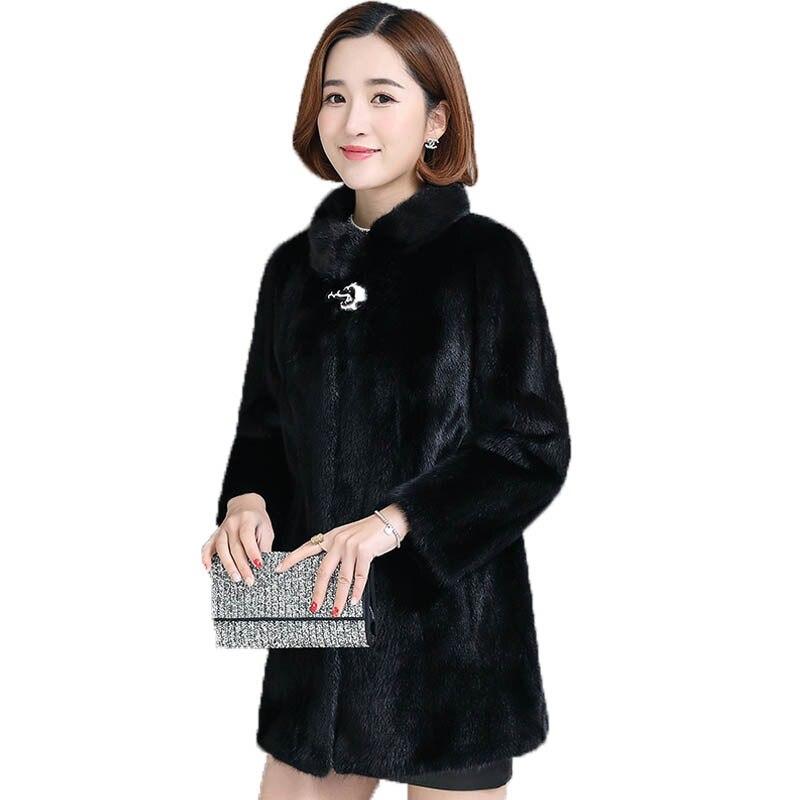 Mode Haute De Noir Manteau Vêtements D'hiver Longue 2018 Montant Faux Nouvelle Col Fourrure Manteaux Imiation Femmes Visons byf6gY7v