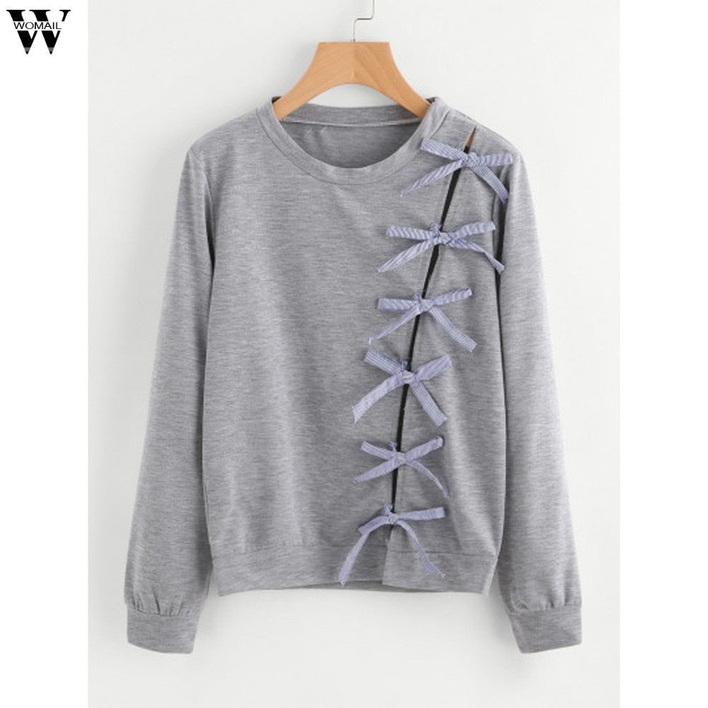 Womail Women Bow Tie Loose Coats Solid Sweats Top Swearshirt Blouse se26