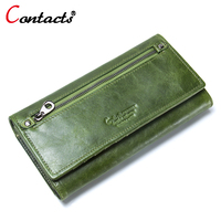 Contact's Genuine Leather Women Wallets And Purses Ladies Long Wallet Women Coin Purse Female Clutch Card Holder Phone Money Bag