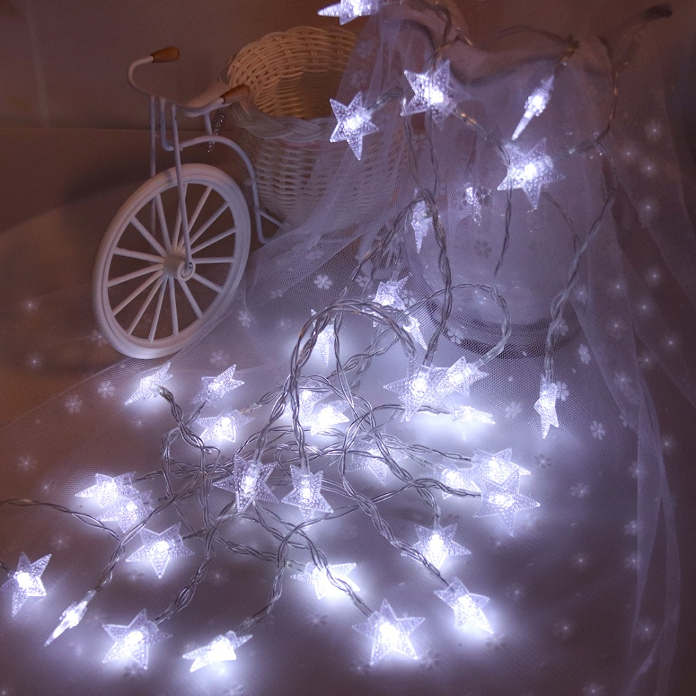 LED Garlands Lights Shining Stars Light String 6M 40 LEDs Princess Room Holiday Party Christmas Ramadan Decoration Battery JQ
