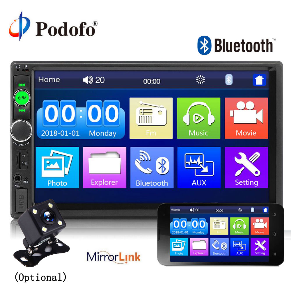 Car Stereo 2 din car Radio 7 HD Player MP5 Touch Screen Digital Display Bluetooth Multimedia USB 2din Autoradio Mobile Phone interconnetion with 12 LED Car Backup Camera