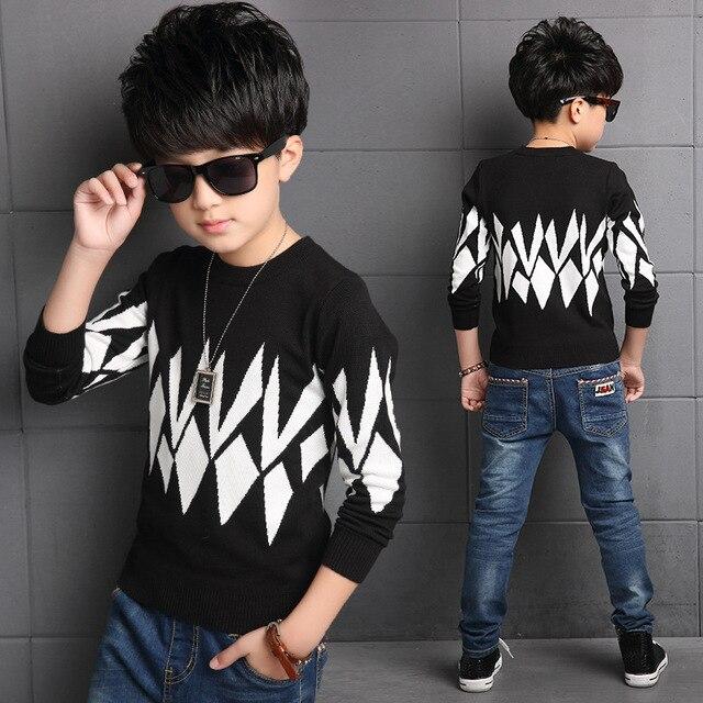 Дети осень отдых вязать свитер геометрические печати больших мальчиков ребенок толстый хлопчатобумажный свитер зимой TOP18