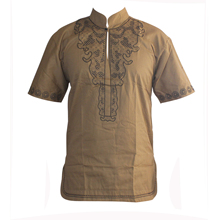 African Embroidered Men`s Ethnic Dashiki Tops Short Sleeved Africa Clothes