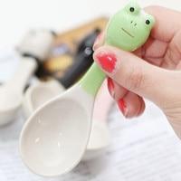 4pcs Lot Cute Zakka Kids Ceramic Cartoon Porcelain Tea Coffee Milk Yogurt Rice Spoons Ice Cream