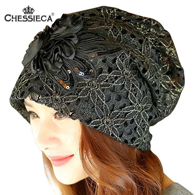 CHESIECA Spring Fashion Women Metallic Lace Flower Slouchy Baggy Head Cap Chemo Beanie Cancer Hat Ladies Turban Touca Gorro
