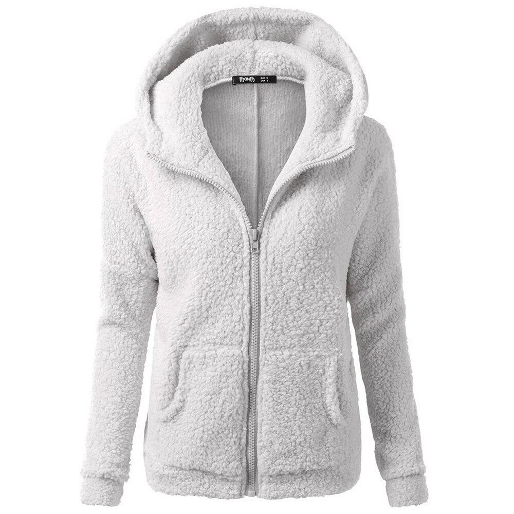 HTB1UX4FX.LrK1Rjy0Fjq6zYXFXaw Women Solid Color Coat Thicken Soft Fleece Winter Autumn Warm Jacket Hooded Zipper Overcoat Female Fashion Casual Outwear Coat