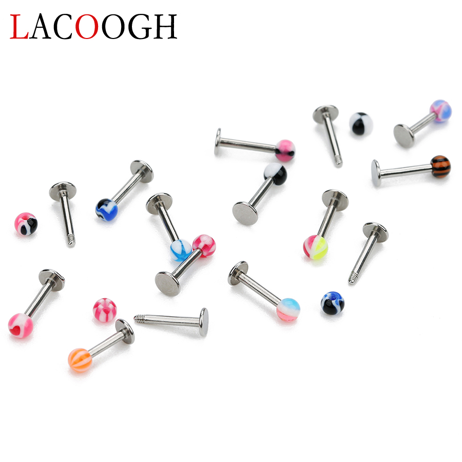 Wholesale 10pcs Mixed Color Stainless Steel Ear Studs Barbells Piercing Tragus Piercing Lips Rings Party Body Jewelry For Women