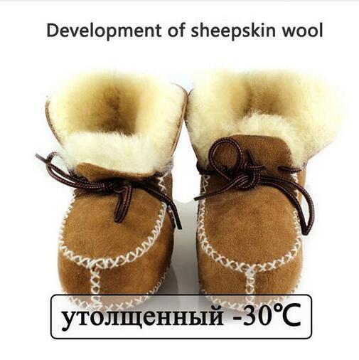 Sapatos de bebê crianças botas de inverno quente sapatos de pele de lã meninas do bebê botas de pele de Carneiro Genuína menino De Couro botas de pele de bebê recém-nascidos