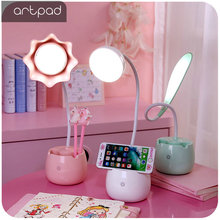Artpad Pink Green Lovely Student LED Desk Lamp with Touch Switch Dimmer 360 Degree Flexible Arm USB Port Charge for Girl Kids