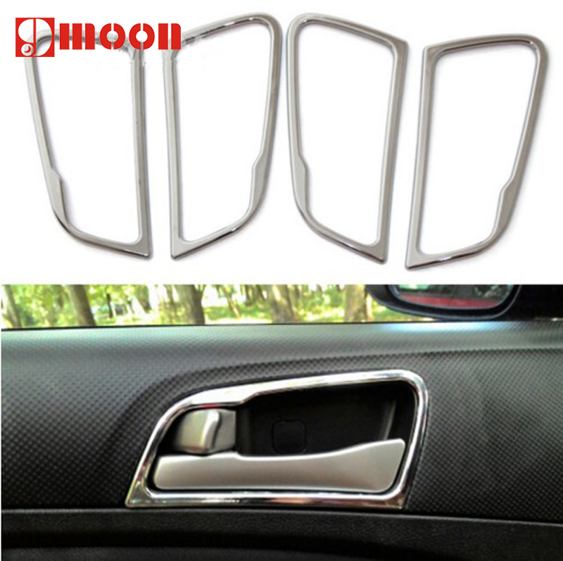 chrome door handle cover interior decoration ring sticker car accessories for hyundai solaris. Black Bedroom Furniture Sets. Home Design Ideas