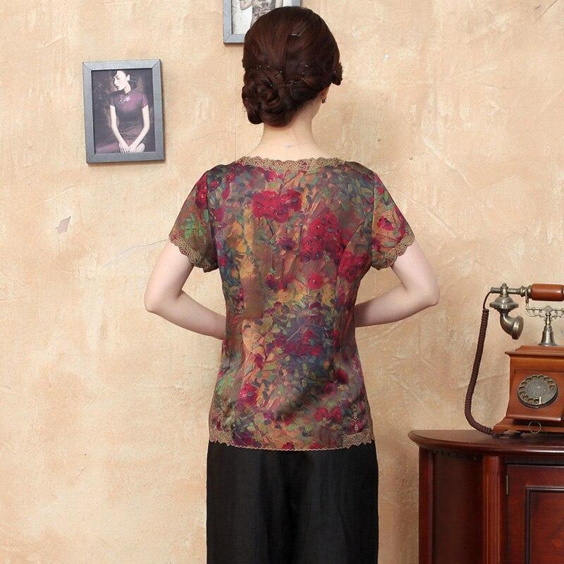 a393d4c071f 100% Silk Women Traditional Shirt Silkworm Blouse Blusa Chinese Female  Buttercup Silk Shirt Tops Mujer Camisa TYR2087